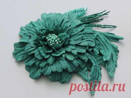 Мастер-класс: брошь осенний цветок из кожи - Ярмарка Мастеров - ручная работа, handmade