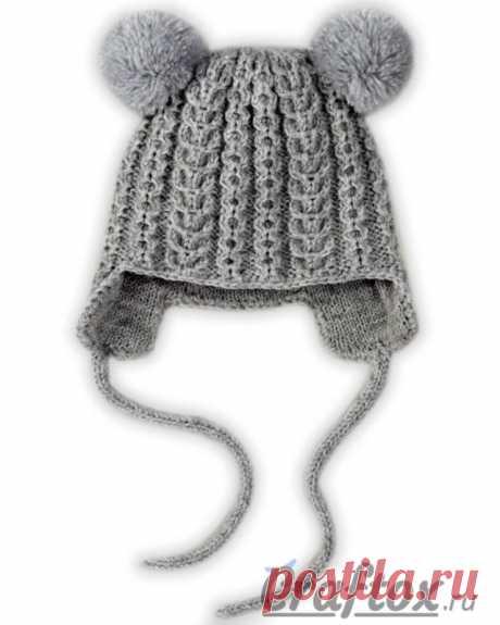 Зимняя детская шапка спицами схема фото 400