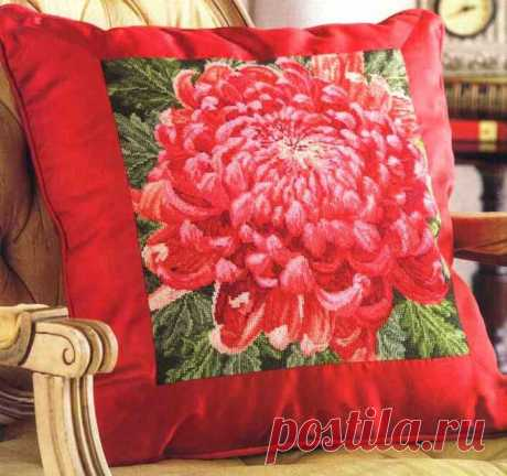 Вышивка крестом Хризантема. Красивая схема для вышивки подушки | Домоводство для всей семьи.