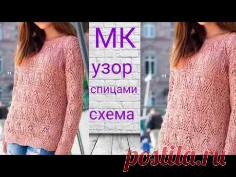 Красивый и простой  пуловер спицами с азиатским узором.