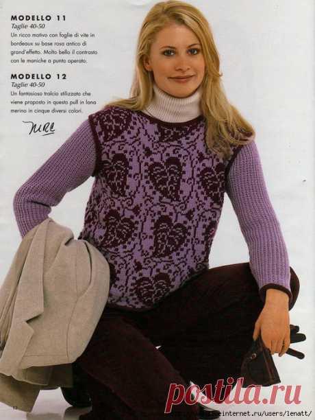 Спицы.Сиреневый пуловер с жаккардовым узором