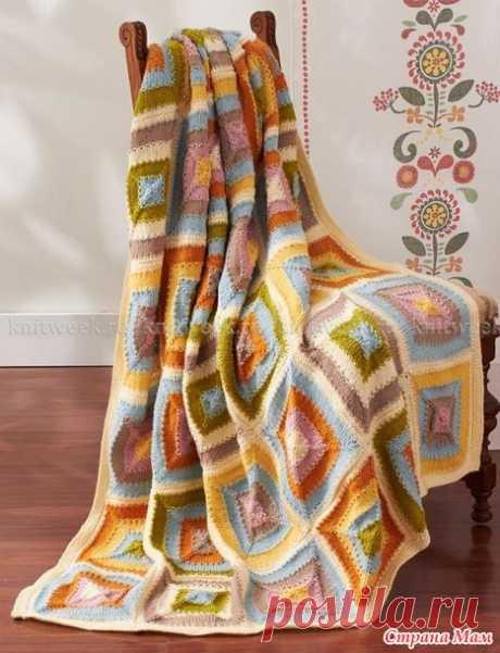 . Идея для утилизации остатков. Пледы с геометрическим узором и цветная диванная подушка - Вязание - Страна Мам