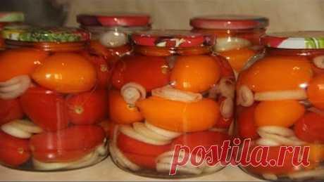 Помидоры без стерилизации - сладкие с луком
