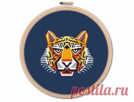 Geometric Tiger Counted Cross stitch Pattern PDF Cross   Etsy