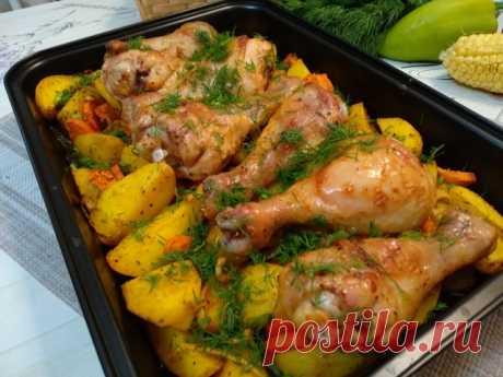 Куриные ножки с картофелем в духовке – пошаговый рецепт с фотографиями