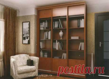 Шкаф-купе библиотека для книг со стеклянными дверцами Ст-1. В интернет-магазине Chudo-magazin.ru в Москве.