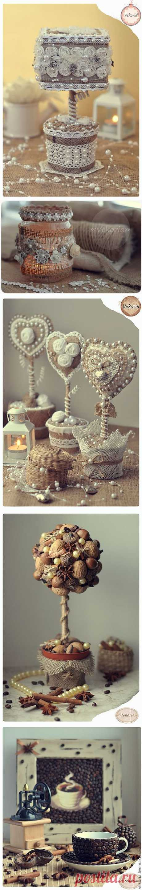 Vintage works from a sacking, laces, jute and coffee grains. A master class in a candlestick from Victoria Sakur.