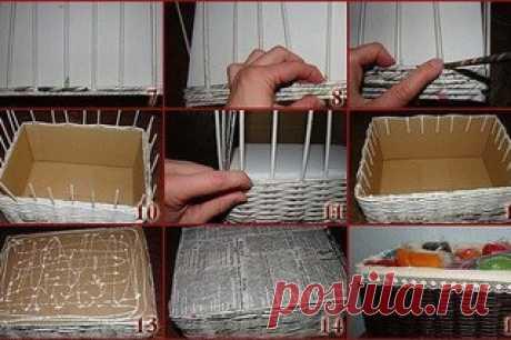 Плетем интерьерные корзинки из газетных трубочек #плетение #ПлетениеИзГазет #корзины