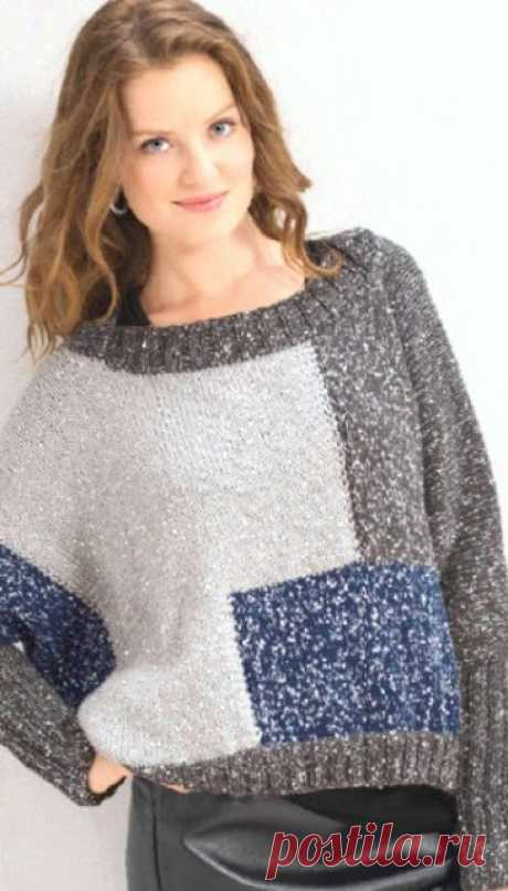 Вязание - модели и схемы: Джемпер с люрексом