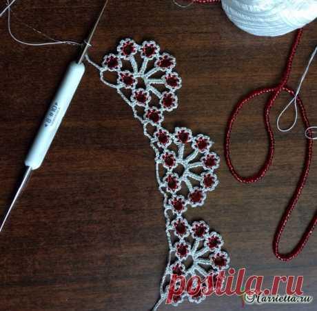 Обвязка края горловины или красивое ожерелье крючком .
