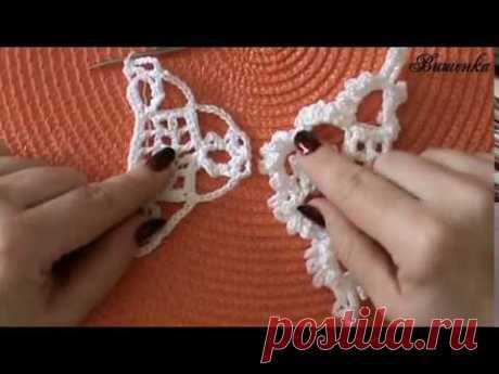Вязание крючком половины квадратного мотива для жакета - YouTube