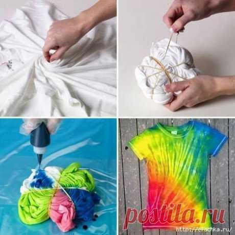 Подборка очумелых идей для дома и дачи  Делюсь накопленными идеями, которые можно воплотить своими руками. Как интересно покрасить футболку:    Залатать диван или кресло:    Сделать уникальное украшение:    Соорудить пуфик из пластиковых …