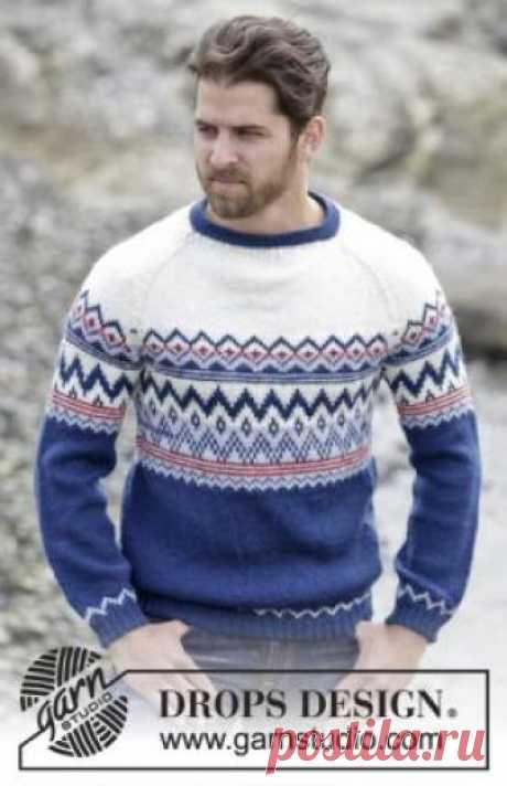 Джемпер Оулавюр Яркий и теплый джемпер спицами для мужчин, связанный из шерстяной пряжи средней толщины. Вязание модели начинается с кокетки, украшенной многоцветным...