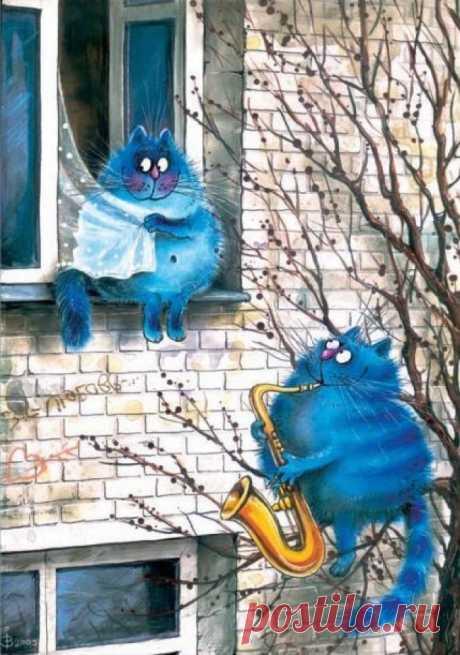 20синих котов, нарисованных слюбовью