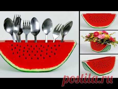 Watermelon flower vase || spoon organiser || Newspaper spoon stand || kitchen organization ideas