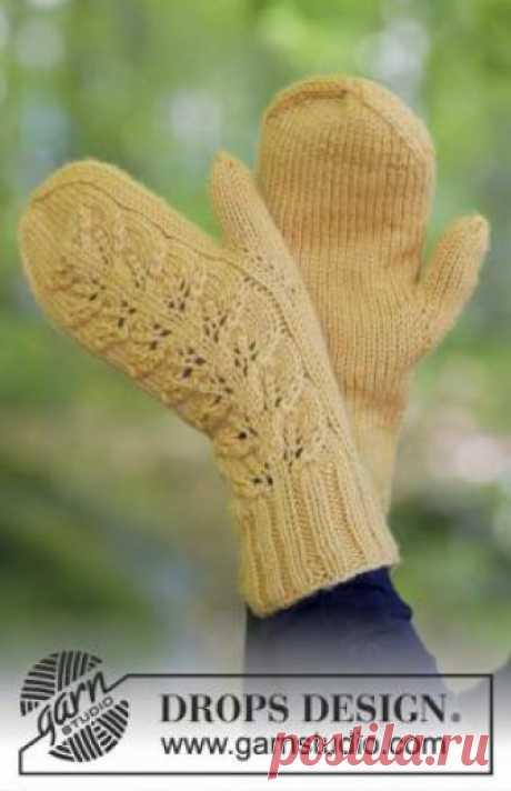 Варежки золотарник Теплые варежки спицами для женщин, связанные из шерстяной пряжи средней толщины. Вязание варежек выполняется классическим способом, тыльная стороны...