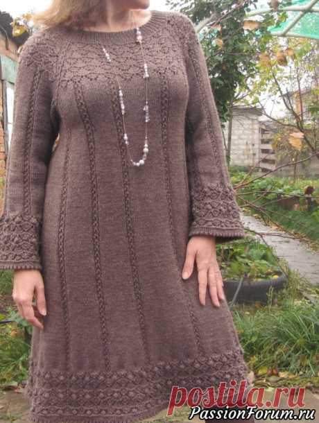 Простое теплое платье цвета кофе с молоком | Вязание спицами.