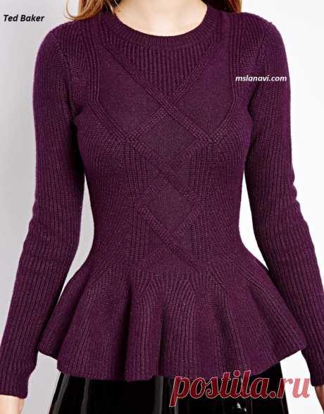 Вязаный пуловер с баской от Ted Baker   Вяжем с Лана Ви