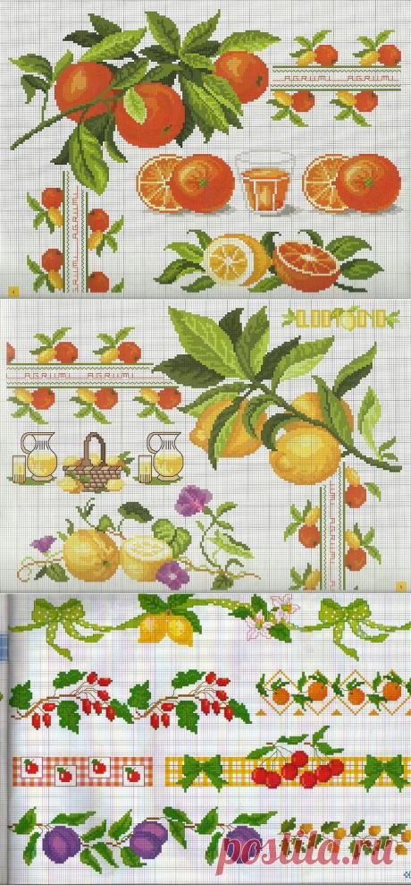 Бордюры с овощами и фруктами. Подборка