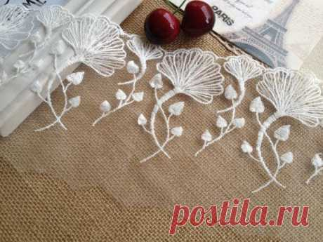 White Ginkgo Leaf Lace Trim Wedding Fabric Lace Embroidered Lace 5 11 Inches wide 2 Yards - MommyGrid.com