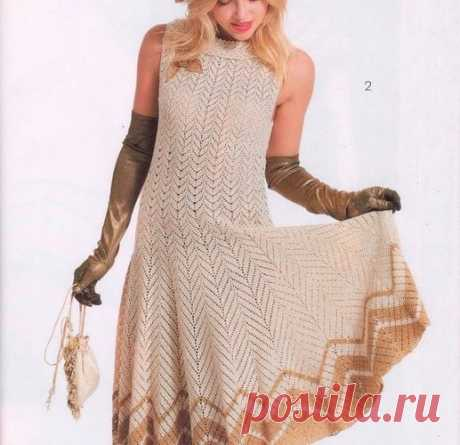 Летнее платье крючком. Длинное платье с зигзаг образным узором | Вязание для всей семьи