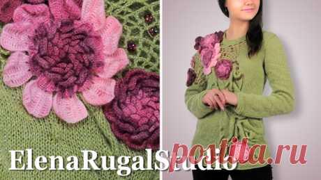 Пуловер спицами декорированный крупными цветами схемы с описанием | Модель вязания №565