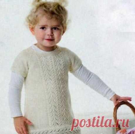 Детская туника с ажурным узором спицами | Моё хобби.Вязание для детей. | Яндекс Дзен