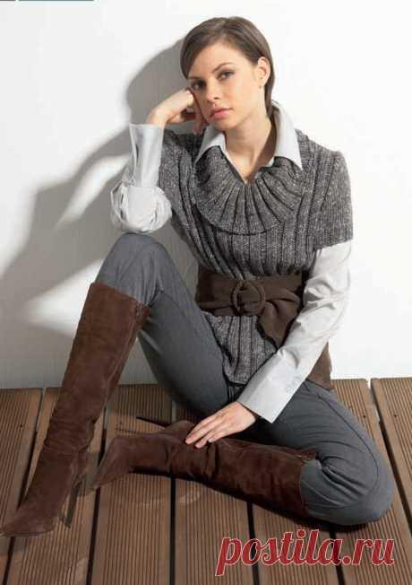 Пуловер с короткими рукавами из Crealana 23
