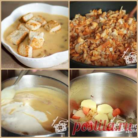 Грибной суп-пюре с лисичками  грибы650 г картофель500 г лук репчатый1 шт морковь1 шт сливки200 г соль перец черный