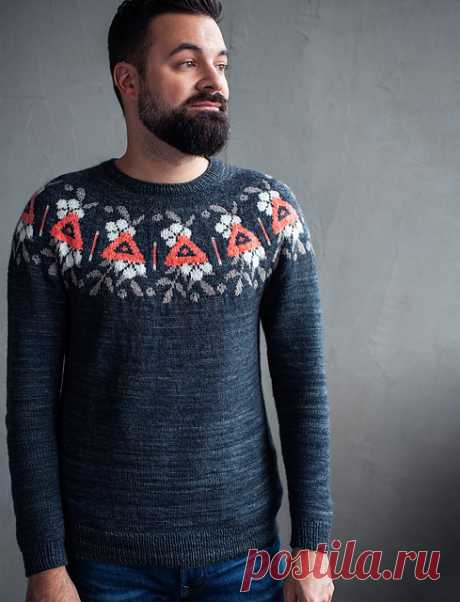 Пуловер с круглой жаккардовой кокеткой Floral Warning - Вяжи.ру