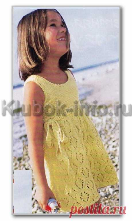 Вязание спицами. Описание детской модели со схемой и выкройкой. Летнее платье с ажурной юбкой для девочки 3-5 лет