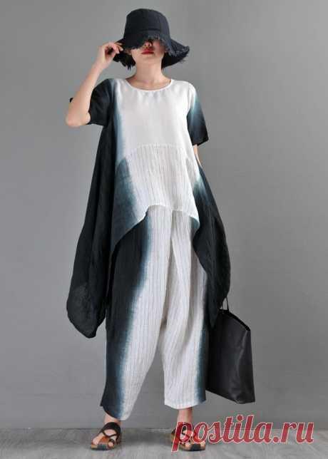Linen Irregular Dye-Dye Shirt-Casual Ladies Wide Leg | Etsy