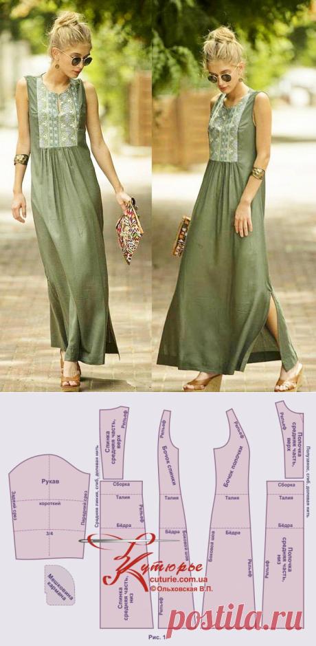 Платье-трапеция в стиле бохо с рельефом