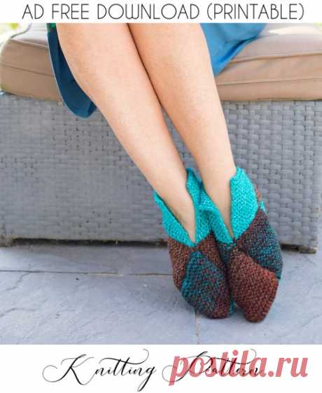 Схема вязания тапочек оригами - Джина Мишель