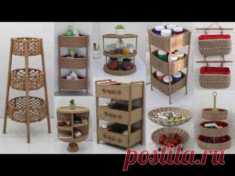 10 Storage Organizer Racks from Waste Materials | Jute Craft Ideas