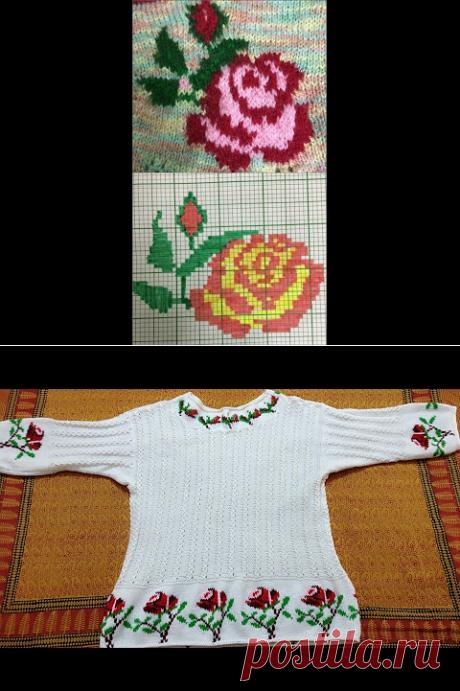 (2) Rose design in baby top with graph in hindi (गुलाब के फूल का डिजाईन बेबी टॉप पर ग्राफ के साथ) - YouTube