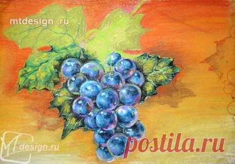 Рисуем гроздь винограда пастелью — Сделай сам, идеи для творчества - DIY Ideas