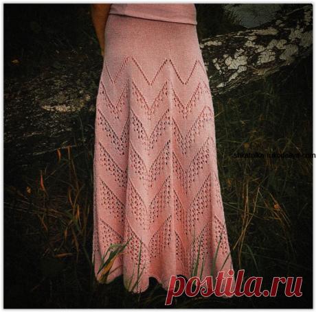 Ажурная юбка зигзагами спицами. Длинная женская юбка на весну спицами | Шкатулка рукоделия. Сайт для рукодельниц.