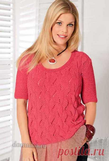 Женский пуловер для полных - описание и схемы вязания на спицах