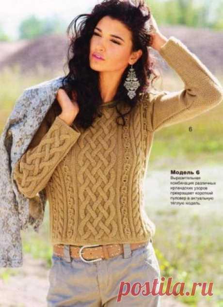 Теплый пуловер с аранами.