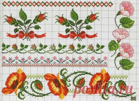 Цветочные орнаменты и бордюры: подборка схем