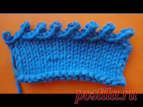 Picot knitting Наклонное пико Урок вязания на спицах 68