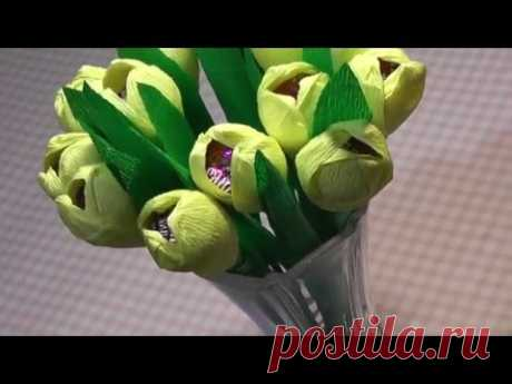 El regalo para el 8 de marzo. La Clase maestra: los Tulipanes del papel por las manos.