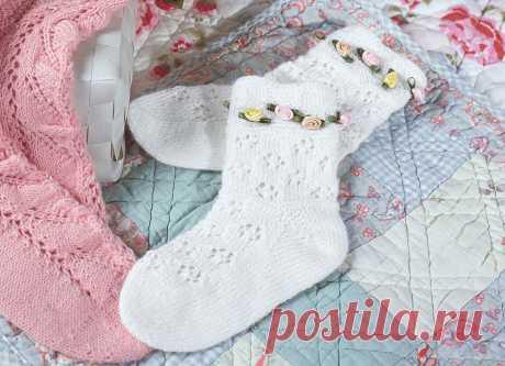Детские носки с ажурными ромбами - схема вязания спицами. Вяжем Носки на Verena.ru