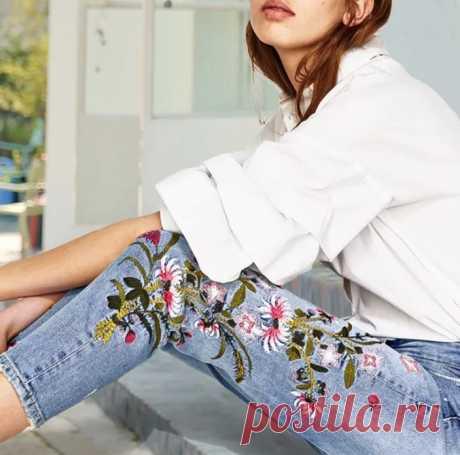 Виды вышивок на джинсах и как носить такие джинсы