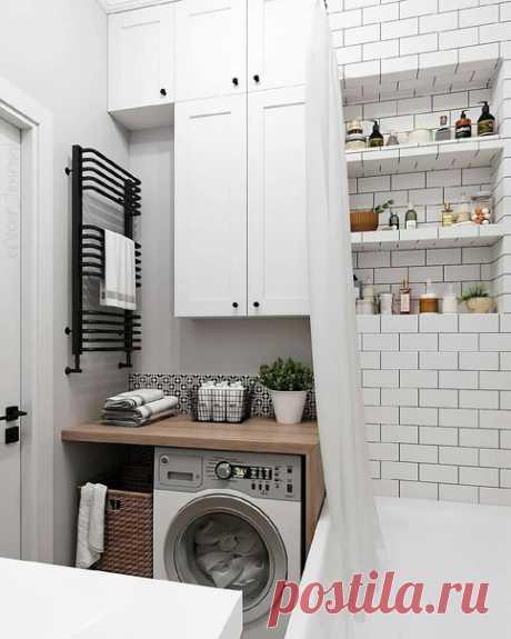 Ванная комната в скандинавском стиле! Светлая и отличная. Правда очень маленькая.