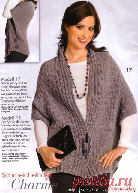 Elegant vest poncho. Spokes. - KNITTED FASHION + FOR NOT MODEL LADIES - the Country of Mothers