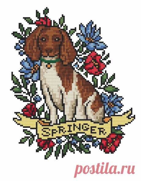 Dog cross stitch pattern PDF/ springer needlepoint counted | Etsy