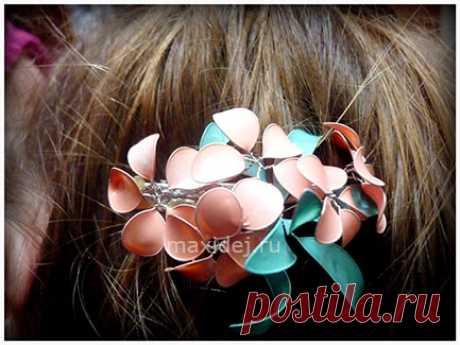 Заколка из проволоки и лака для ногтей для волос с цветами Мастер-класс