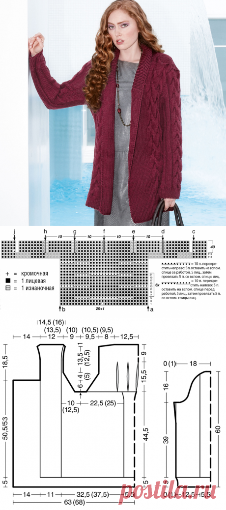 Бордовый кардиган с шалевым воротником - схема вязания спицами. Вяжем Кардиганы на Verena.ru